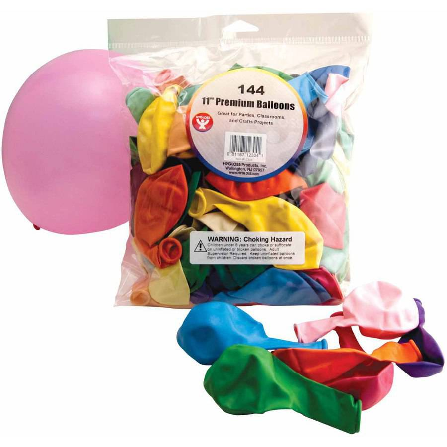 "Hygloss Premium Balloons, 11"", Assorted Colors, 144pk"