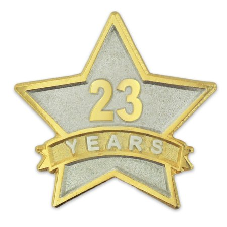- PinMart's 23 Year Service Award Star Corporate Recognition Dual Plated Lapel Pin