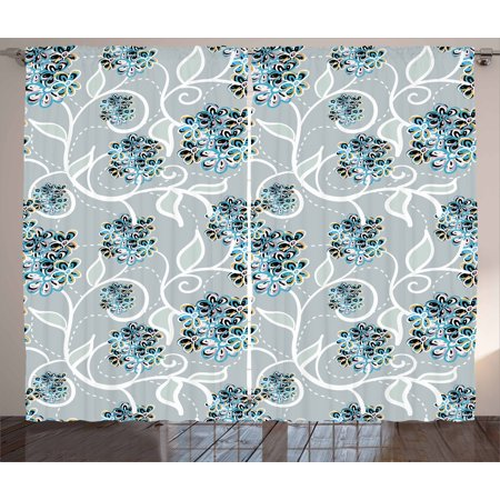 Exquisite Bedroom - Floral Curtains 2 Panels Set, Swirls Daisy Flower Bouquets Beauty Exquisite Flourishing Nature Essence, Window Drapes for Living Room Bedroom, 108W X 63L Inches, Sky Blue Grey Apricot, by Ambesonne