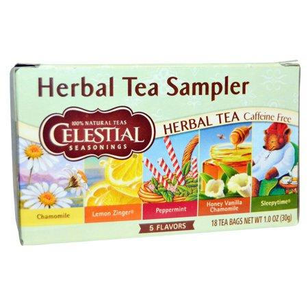 Celestial Seasonings, Herbal Tea Sampler, Caffeine Free, 5 Flavors, 18 Tea Bags, 1.0 oz(pack of 4)