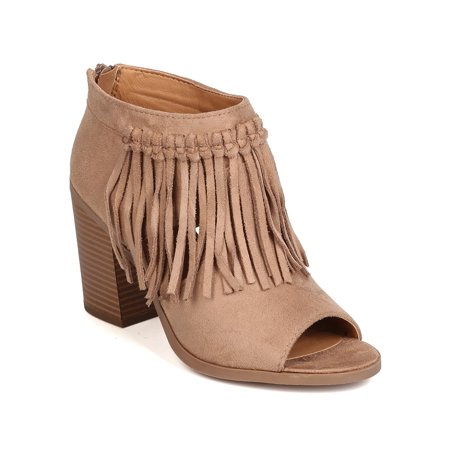 Soda FI54 Women Faux Suede Peep Toe Cut Out Fringe Chunky Heel Bootie
