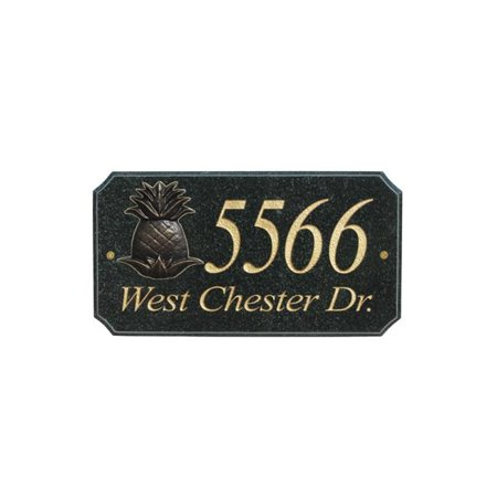 QualArc EXE-4702-BP-PA 9 in. StoneMetal Pineapple Logo Rectangle Solid Granite Address Plaque in Polished Black Color Pineapple Welcome Address Plaque