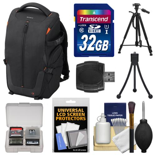 Sony LCS-BP2 Soft Digital SLR Camera Backpack Carrying Case (Black) with 32GB SD Card + Tripod + Accessory Kit for SLT-A57, A58, A65, A77, A99 DSLR Cameras