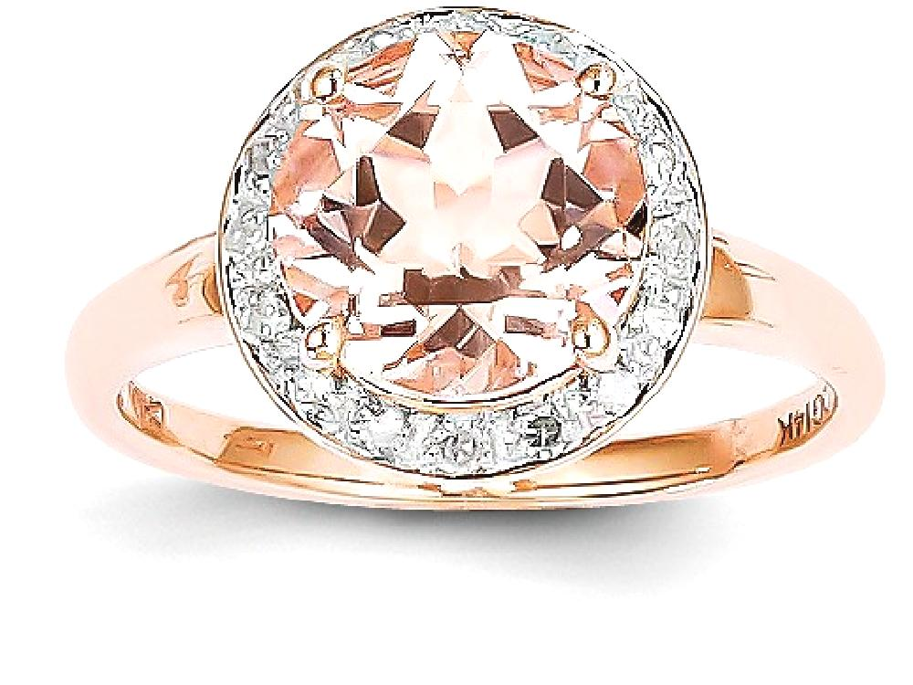 ICE CARATS 14kt Rose Gold Diamond Pink Morganite Round Band Ring Size 7.00 Stone Gemstone Fine Jewelry Ideal Gifts For... by IceCarats Designer Jewelry Gift USA
