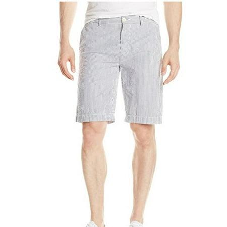 Lacoste Men's Seersucker Classic Fit Bermuda Short, Atmosphere/White, Size -