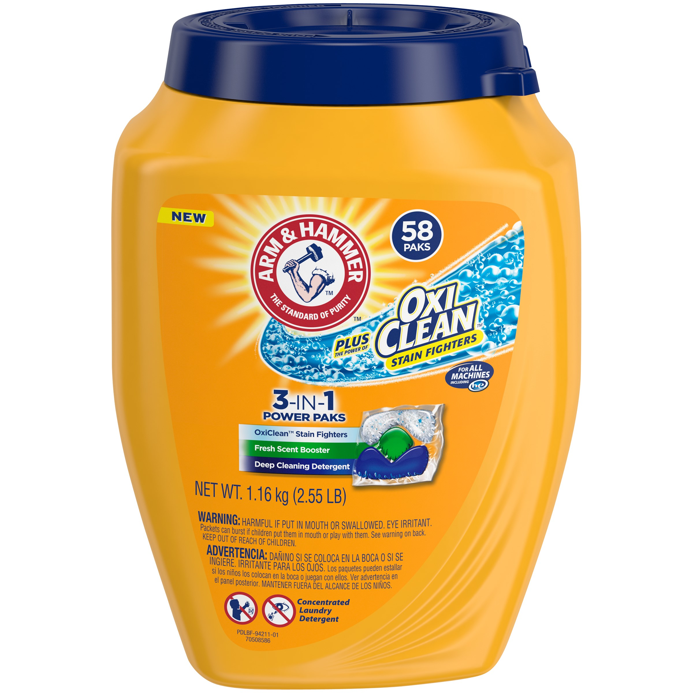ARM & HAMMER Plus OxiClean 3-in-1 Power Paks - Single Use Laundry Detergent, 58 Count