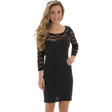 Juniors Black Dress Sheer Lace Sleeves Trim Lightweight Fitted Sizes: Medium ()