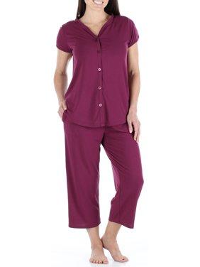 ea76a37085bc Product Image PajamaMania Women s Button-up Short Sleeve Capri Pajama Set