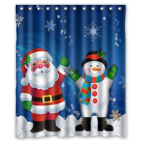GreenDecor Christmas Santa Claus Snowman Waterproof Shower Curtain Set with Hooks Bathroom Accessories Size 60x72 inches