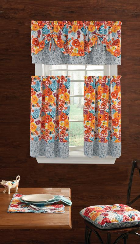the pioneer woman flea market 3pc kitchen curtain and valance set