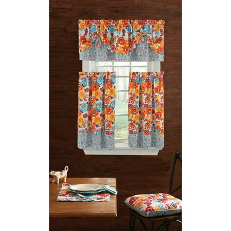 The Pioneer Woman Flea Market 3-Piece Kitchen Curtain Tier And Valance (Floral Vintage Valance)