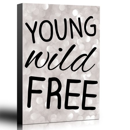 wall26 Bold Inspirational Quote Young Wild Free on Champagne Bokeh Background - Home and Dorm Room Decor - Canvas Art Home Decor - 12x18 inches ()