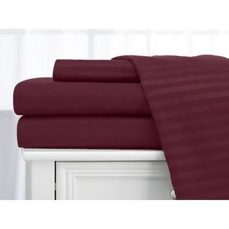 Deluxe Home 100% Cotton  400 Thread Count Dobby Stripe Sheet Set ( Full, Burgundy - Burgundy Stripe