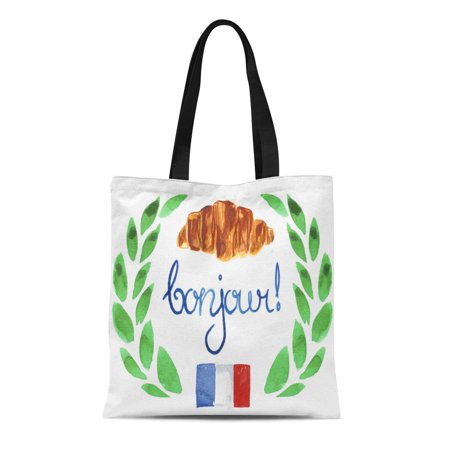 SIDONKU Canvas Tote Bag Watercolor French Symbols Such As Flag Croissant and Bonjour Durable Reusable Shopping Shoulder Grocery
