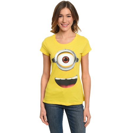 Juniors Minions Face Yellow Fitted T-Shirt Costume Tee