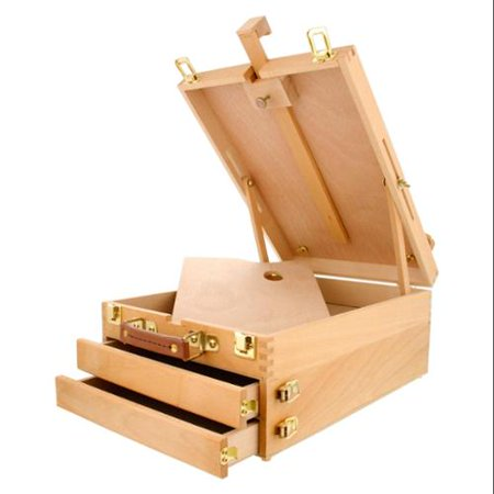 US Art Supply GRAND CAYMAN Extra Large 2-Drawer Wooden Sketchbox Easel Painting Metal Table Easel