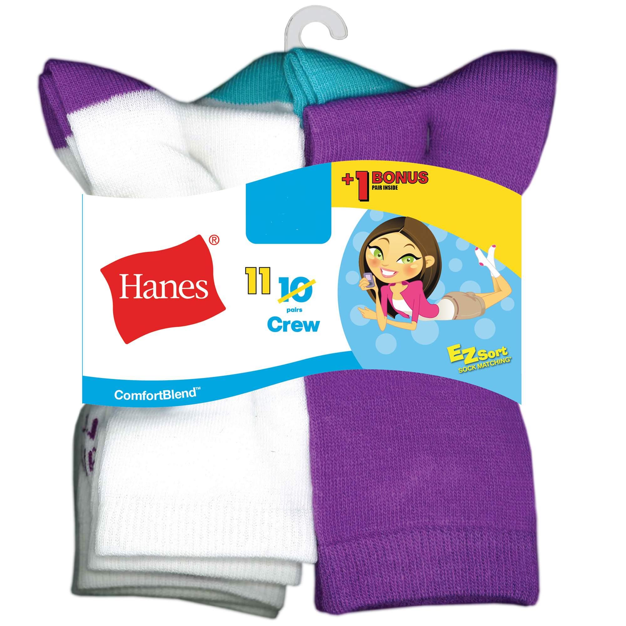 Comfortblend Crew Socks, 10 + 1 Bonus Pack (Little Girls & Big...