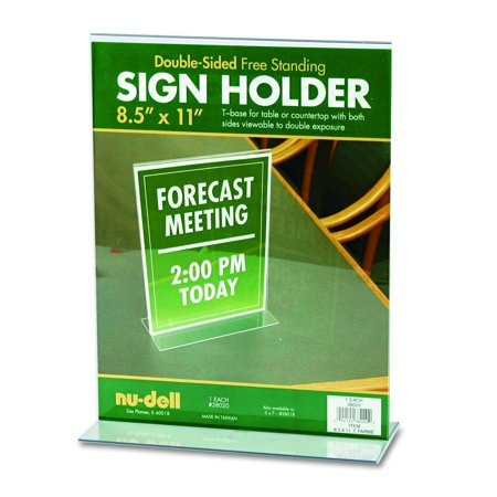 Double Sided Plastic Sign Holder (Nu-Dell 8.5 x 11 Inches T-Shaped Sign Holder, Clear, Clear Plastic Table or Counter Top Sign Holder provides double sided viewing By)