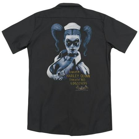 Batman Arkham Asylum Arkham Harley Quinn (Back Print) Mens Work Shirt