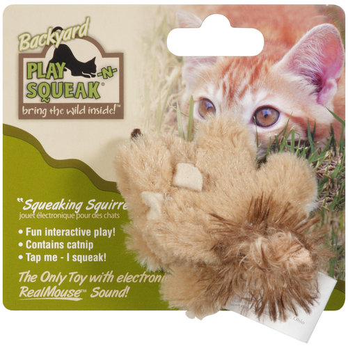 Our Pet's Play-N-Squeak 1010010788 Backyard Squirrel Cat Toy, 2-1/2 Inch