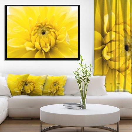 DESIGN ART Designart 'Yellow Chrysanthemum Gold Flower' Flower Artwork on Framed Canvas - Golden Yellow Flower