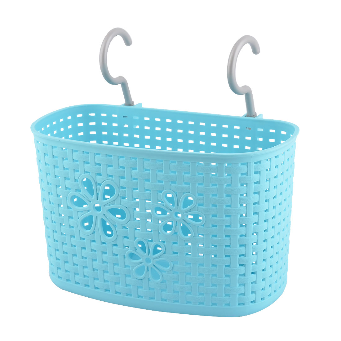 Household Kitchen Plastic Rectangular Hanging Storage Basket Container Blue