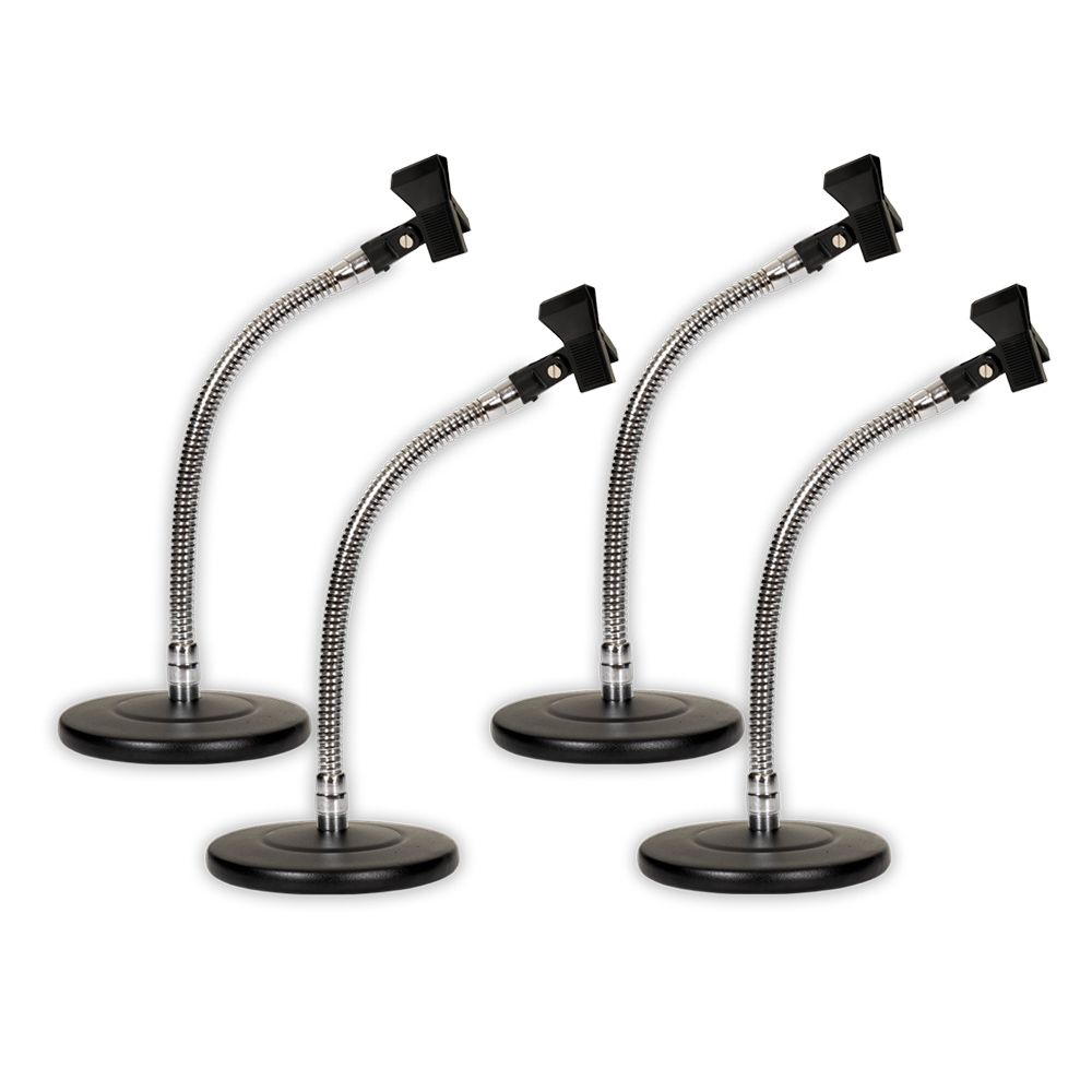 Podium Pro MS3 Tabletop Microphone Stands and Mic Clips Gooseneck DJ Podcast 4 Stand Set MS3MC1-4S
