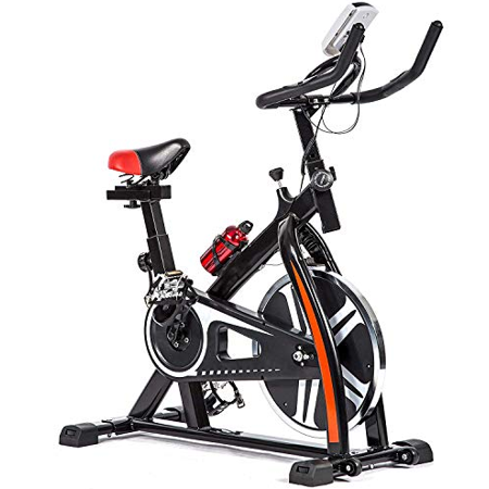 Indoor Cycling Exercise Bike with Heart Pulse, LED Display, and Adjustable Seat and Handlebars