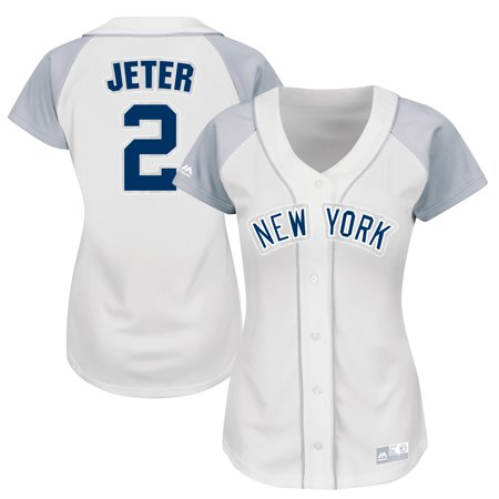 sports shoes 901e6 dd1d3 Derek Jeter New York Yankees Majestic Women's Player Fashion Replica Jersey  - White/Gray