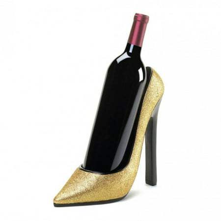 GLITTERING GOLD HEEL WINE BOTTLE HOLDER 2 Bottle Wine Holder