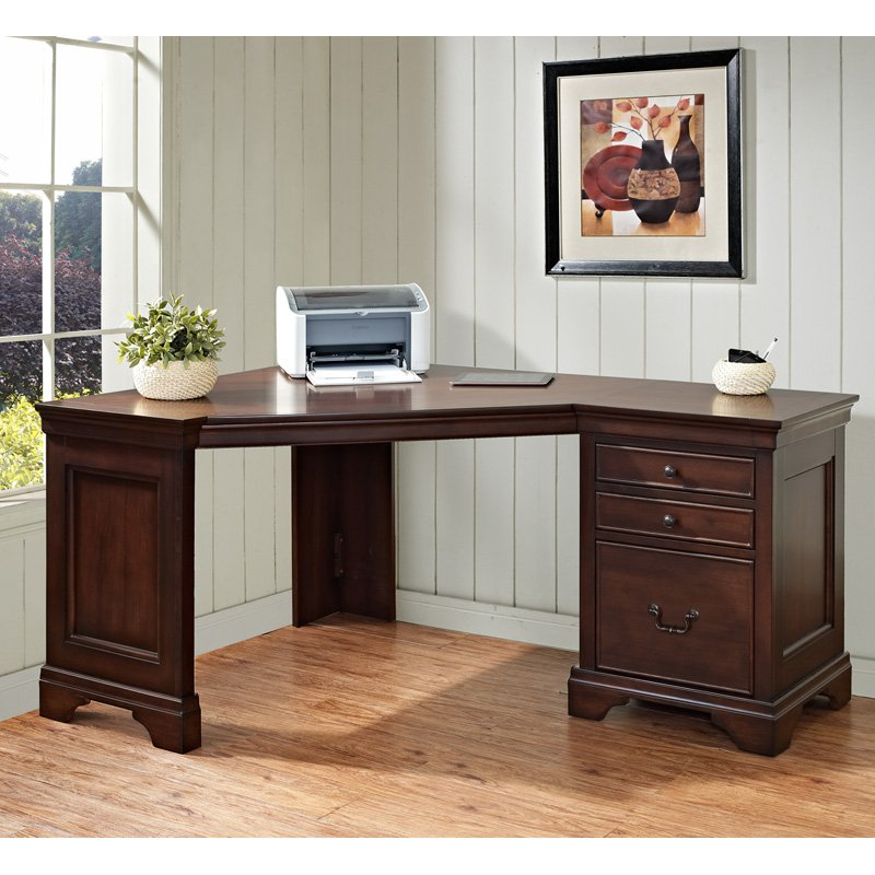 eready express harmony 60 in corner computer desk delmont cherry