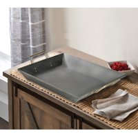 Mainstays Black Galvanized Tray with Gold Handles