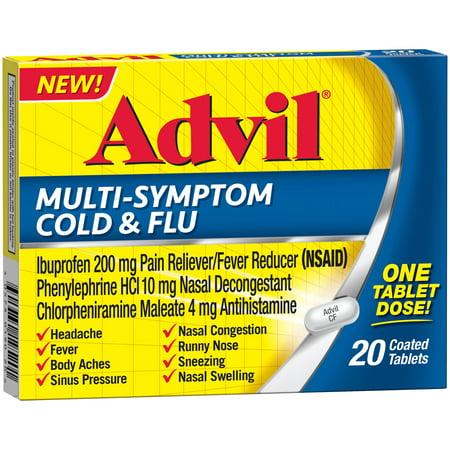 Advil Multi-Symptom Cold & Flu Tablet (20 Count) Coated Tablet, 200 MG Ibprofuen