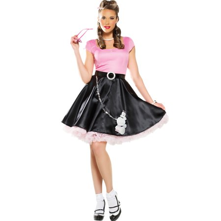 50'S Sweetheart Womens Grease Black Poodle Skirt Hop Outfit Halloween Costume