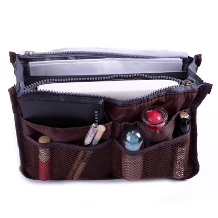 - Expandable 11 Pocket Large Handbag Insert Purse Organizer with Handles (Brown)
