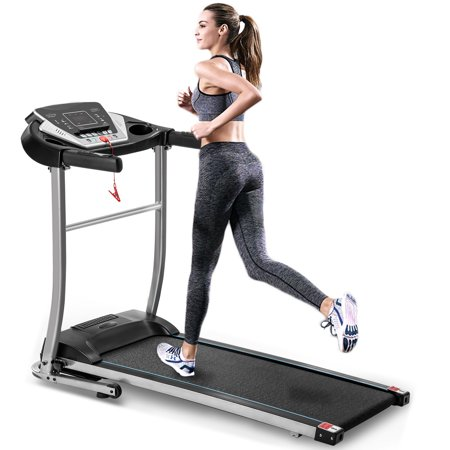 Clearance! Electric Folding Treadmill, 2020 Fitness Motorized Running Jogging Exercise Machine, 12 Preset Program, LED Display, Cupholders, Easy Control, Wheeled Treadmill for Home Gym Office, W12469