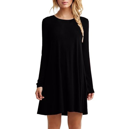 Babula Women Casual Loose Long Sleeve Plain Tunic Tops Dress