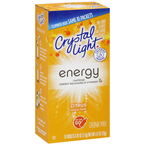 Crystal Light On The Go Energy Citrus Drink Mix, 10ct