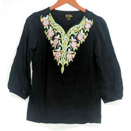 Bob Mackie Women's Top Sz XXS Tree of Life Embroidered Knit Black A306257 Bob Mackie Embroidered Blouse