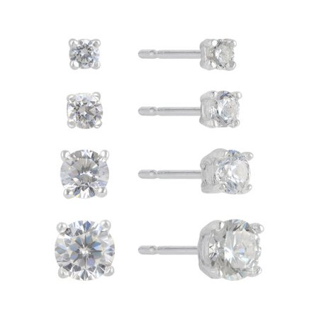 - CZ Sterling Silver Basket-Set Round Stud Earrings Set, 2mm-5mm, 4 Pairs