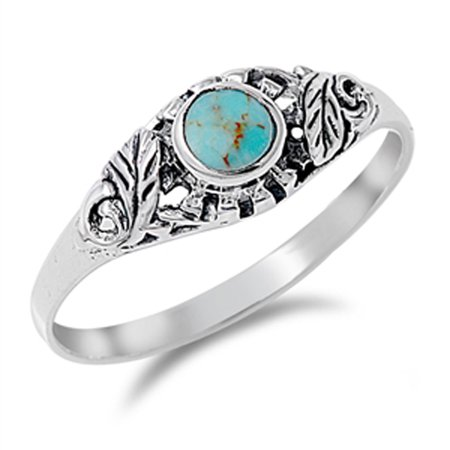 Sterling Silver Bright Women's Simulated Turquoise Leaf Ring (Sizes 4-10) (Ring Size 10)