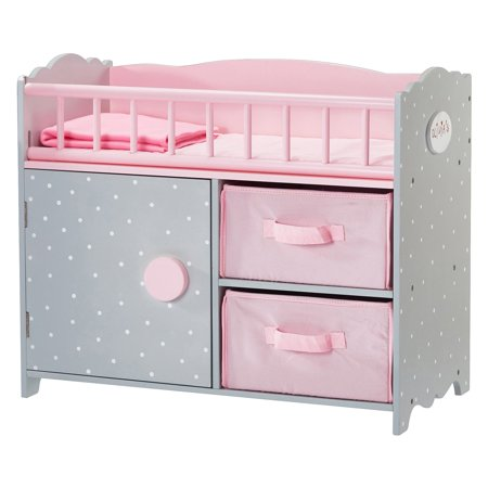 Olivia's Little World - Polka Dots Princess Baby Doll Crib with Cabinet and Cubby ()
