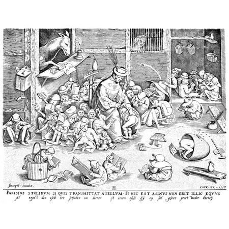 Bruegel The Elder 1557 Nengraving 1557 By Pieter Van Der Heyden After A Pen Drawing 1556 By Peter Bruegel The Elder The Latin Caption Translates You May Send A Stupid Ass To Paris If He Is An Ass Here