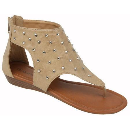 dde25530035 Womens Gladiator Sandals Thong Flops T Strap Flip Flops Flats Back ...