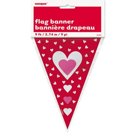 9' Hearts Valentine Flag Banner