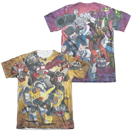 Trevco Sportswear HBRO170FB-ATPC-6 Transformers & Autobots V Decepticons Front & Back Print - Adult Poly & Cotton Short Sleeve Tee, White - 3X - image 1 of 1