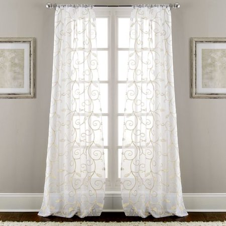 Fleur De Lis Living Lindsey Embroidered Nature/Floral Semi-Sheer Rod Pocket Curtain Panels (Set of (Phoenix Fleur De Lis)