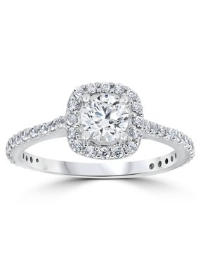 1 1/5ct TDW Cushion Halo Round Diamond Engagement Ring White Gold Solitaire