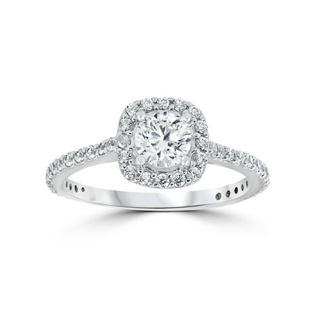 1 15ct Tdw Cushion Halo Round Diamond Engagement Ring White Gold Solitaire