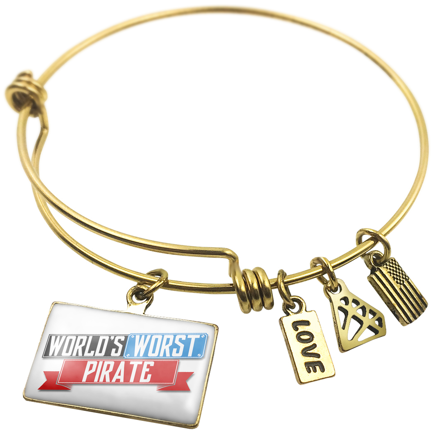 Expandable Wire Bangle Bracelet Funny Worlds worst Pirate - NEONBLOND